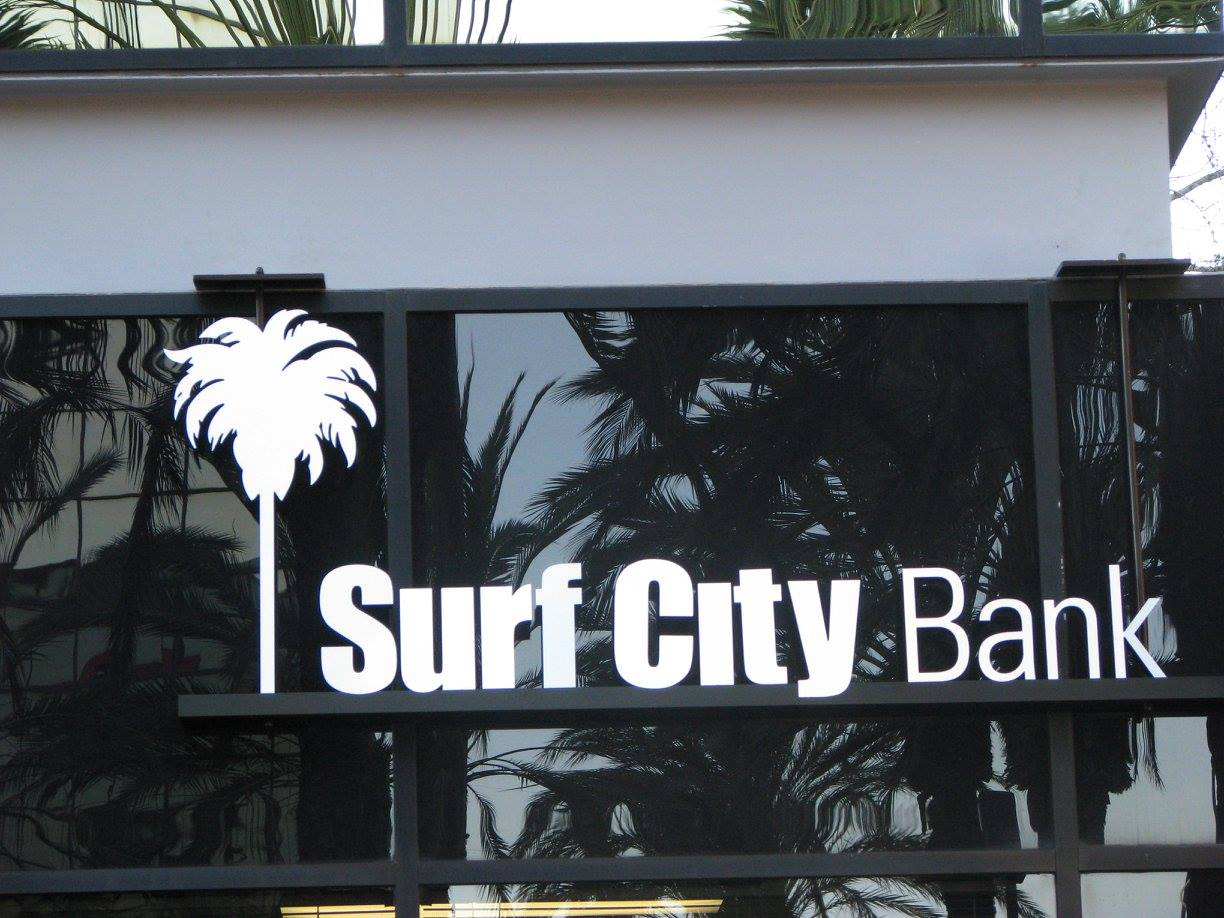 surf city bank window wall and graphic